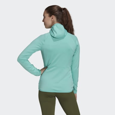 Chaqueta Terrex Tech Fleece Lite Hooded Hiking Verde Mujer TERREX