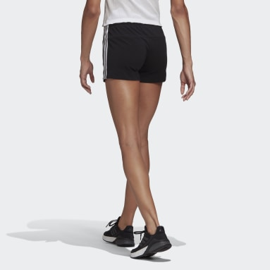 Women Sport Inspired Black Essentials Slim 3-Stripes Shorts