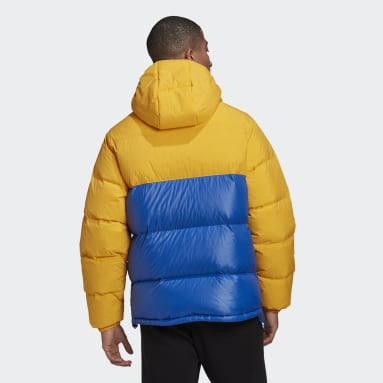 Men Originals Yellow Down Regen Hooded Blocked Puffer Jacket