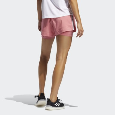 Women's Softball Pink Pacer 3-Stripes Woven Two-in-One Shorts