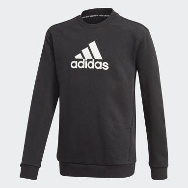 Sweat-shirt Logo Crew Noir Garçons Fitness Et Training
