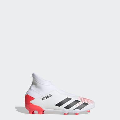 Boys Football White Predator 20.3 Firm Ground Boots