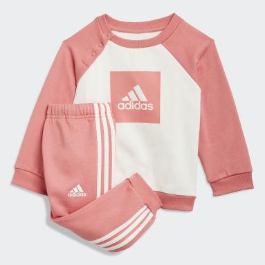 Děti Cvičení A Trénink růžová Souprava 3-Stripes Fleece Jogger