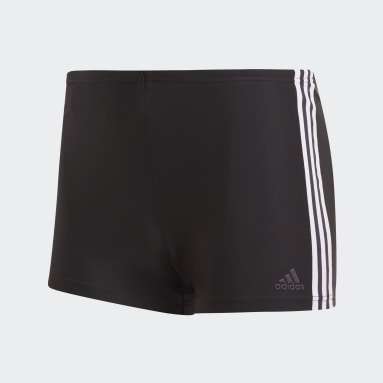 Men Swimming Black 3-Stripes Swim Boxers