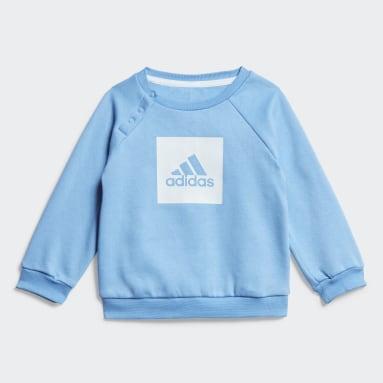 Kids Gym & Training Blue 3-Stripes Fleece Jogger Set