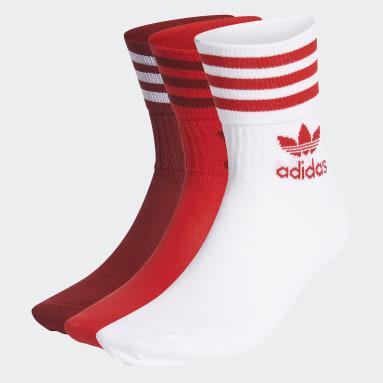 красный Три пары носков Crew Mid-Cut