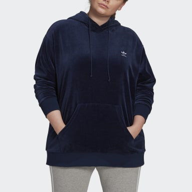 Women Originals Blue Velour Trefoil Hoodie (Plus Size)
