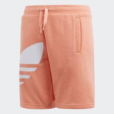 Youth Originals Orange Big Trefoil Shorts