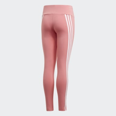 Girls Gym & Training Pink 3-Stripes Cotton Leggings