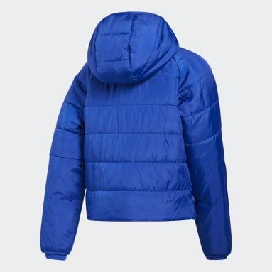 Girls Training Blue Crop Waist Hooded Puffer Jacket