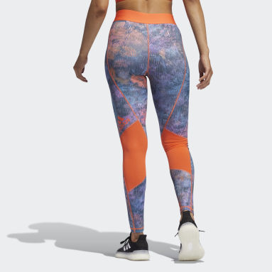 Women Gym & Training Turquoise Techfit Mid-Rise Floral Leggings