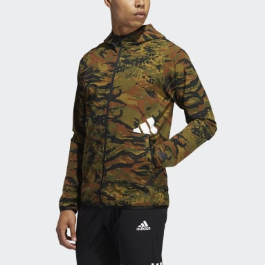 Männer Wintersport FreeLift Camouflage Training Kapuzenjacke Grün
