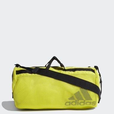 Women Running Yellow Sports Mesh Duffel Bag