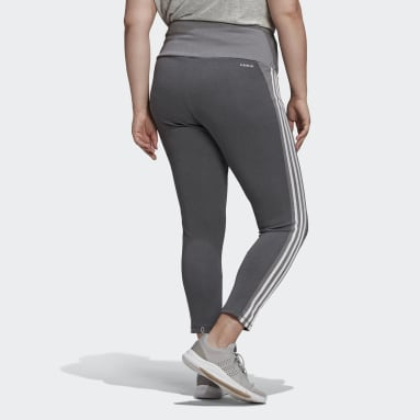 Women's Training Grey Designed 2 Move High-Rise 3-Stripes 7/8 Sport Tights (Plus Size)