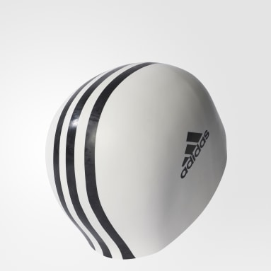 Swimming White 3-Stripes Swim Cap