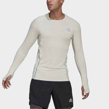 T-shirt Runner Long Sleeve Beige Hommes Running