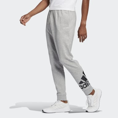 Men Sport Inspired Grey Essentials French Terry Tapered Cuff Logo Pants