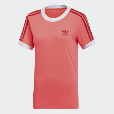 Dames Originals Oranje 3-Stripes T-shirt