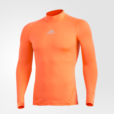 Playera Alphaskin Sport Climawarm Naranja Hombre Fútbol
