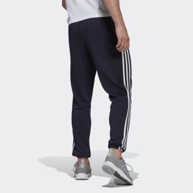 Pantaloni Essentials French Terry Tapered 3-Stripes Blu Uomo Sportswear