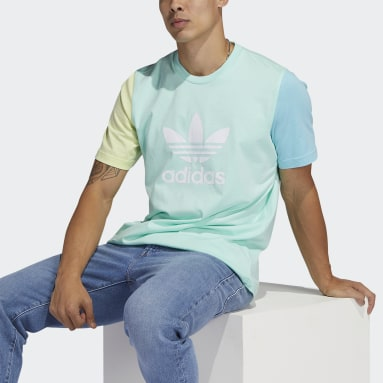 Men Originals Turquoise Blocked Trefoil T-Shirt