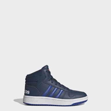 Kids Essentials Blue Hoops 2.0 Mid Shoes