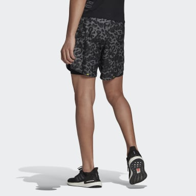 Men Running Grey Fast Two-in-One Primeblue Graphic Shorts