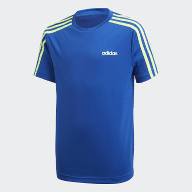 Youth 8-16 Years Gym & Training Blue 3-Stripes T-Shirt