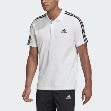 Men Sport Inspired White AEROREADY Essentials Piqué Embroidered Small Logo 3-Stripes Polo Shirt