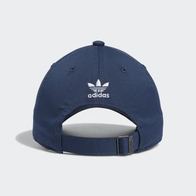 Men's Originals Blue Relaxed Split Trefoil Strap-Back Hat