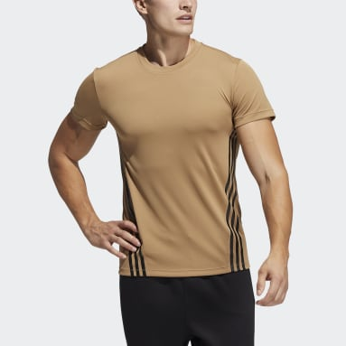Men Training Brown AEROREADY 3-Stripes Tee