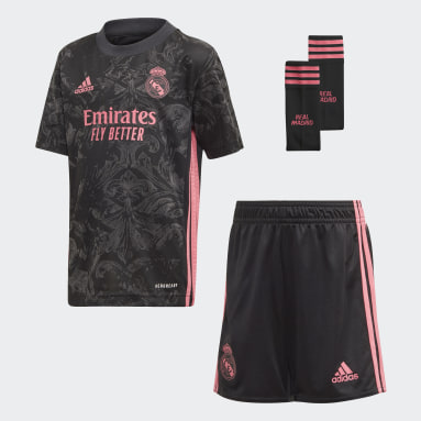 Barn Fotboll Svart Real Madrid 20/21 Third Mini Kit