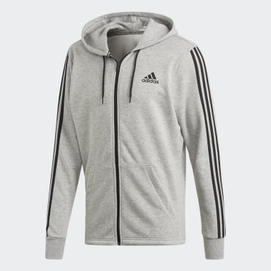 Muži Sportswear Siva Mikina s kapucňou Must Haves 3-Stripes French Terry