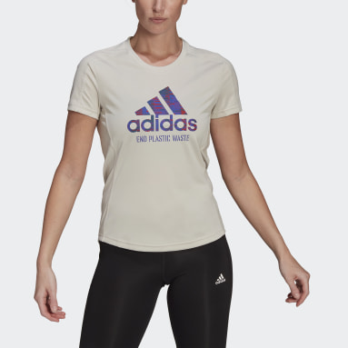 Women Running Beige Run for the Oceans Graphic Tee