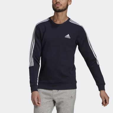Men Sport Inspired Blue Essentials Fleece Cut 3-Stripes Sweatshirt