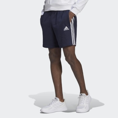 Men Sport Inspired Blue Essentials French Terry 3-Stripes Shorts