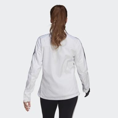Frauen Running Marathon 3-Streifen Jacke Weiß