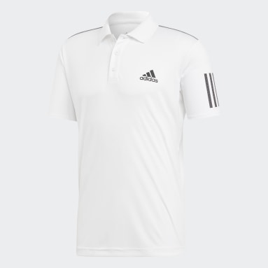 Men Tennis White 3-Stripes Club Polo Shirt
