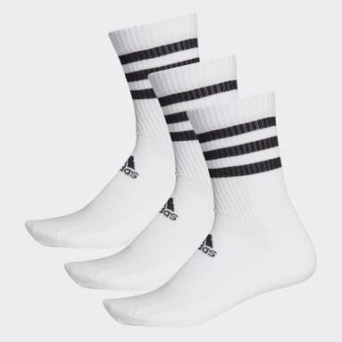Tennis 3-Streifen Cushioned Crew Socken, 3 Paar Weiß