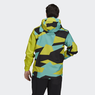 Men TERREX Yellow Terrex Multi RAIN.RDY Primegreen Allover Print 2-Layer Rain Jacket