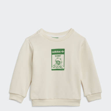 Barn Originals Vit Disney Kermit Organic Cotton Crew Sweatshirt