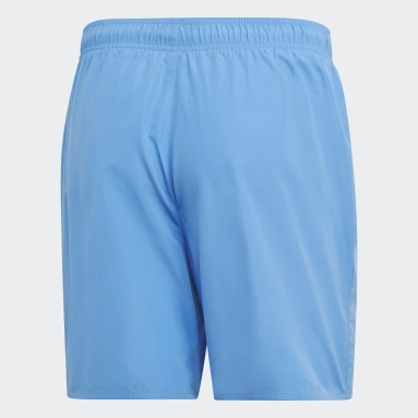 Men Water Sports Blue Solid Swim Shorts