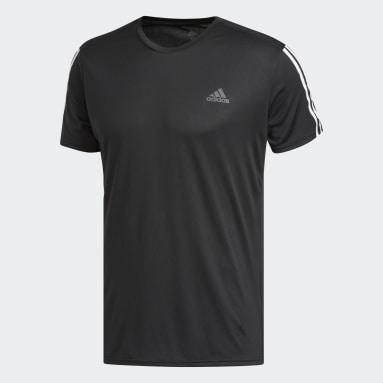 Men Running Black Running 3-Stripes Tee