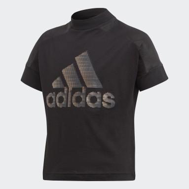 Mädchen Yoga ID Glam T-Shirt Schwarz