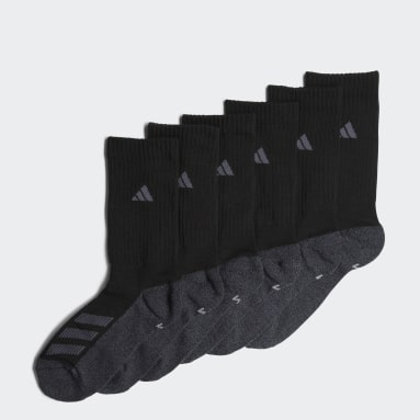 Children Training Black Cushioned Angle Stripe Crew Socks 6 Pairs