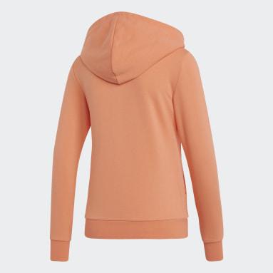 Women Gym & Training Orange Essentials Solid Hoodie