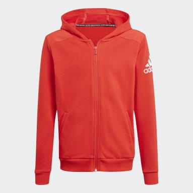 Jungen Fitness & Training Logo Kapuzenjacke Rot
