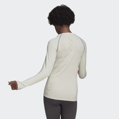 T-shirt Runner Long Sleeve Beige Femmes Running