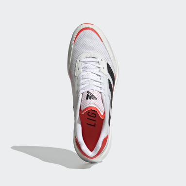 Men Running White Adizero Boston 10 Shoes