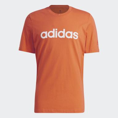 Men Sportswear Orange Essentials Embroidered Linear Logo T-Shirt